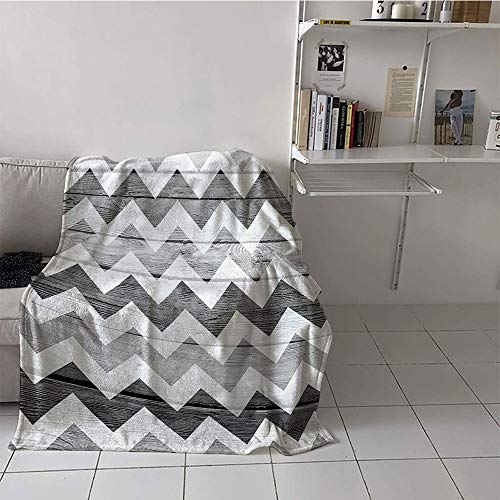 Khaki home Children's Blanket Room/Bedroom Print Summer Quilt Comforter (30 by 50 Inch,Grey Chevron Geometric Illustration Decorations,Chevron Pattern on Wood Background Design,Black Grey WhiteSmoke ()
