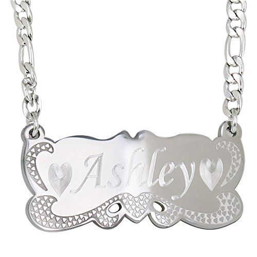 ProLuckis Handmande Personalized Name Jewelry Necklace 18k Gold Plated-Custom Made Any Name (Silver) (Jewelry Gold Made Custom)