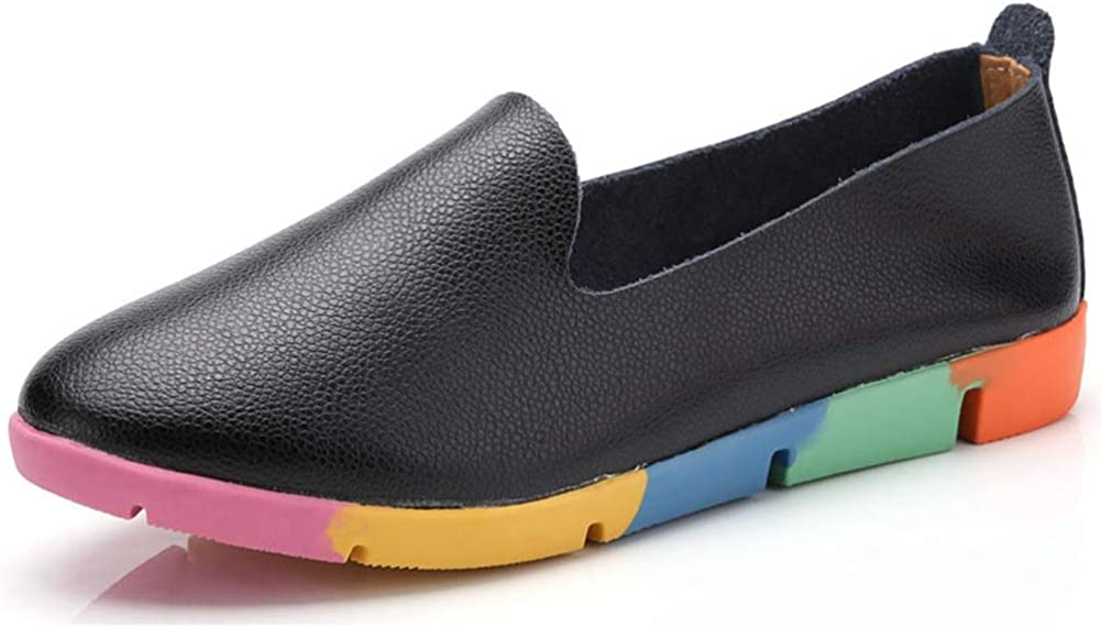 Women Leather Flats Ladies Driving Shoes Slip On Casual Comfortable Shoes Work Loafers
