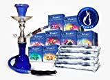 "Premium 11"" Black Hookah, 3 Boxes of Beamer Hookah Molasses Flavors, 30 Charcoals, Beamer Card and Accessories."