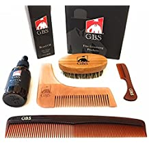 """5 Piece GBS Beard Styling and Shaping Set For Precision and Perfect Lines. Oval Boar Bristle Brush, Unscented Beard Oil, Template, Mustache and Beard Comb with 7"""" Dressing Hair..."""