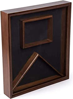 product image for Flag Display Case with Glass Front and Certificate Holder, Velvet Backing – Cherry.