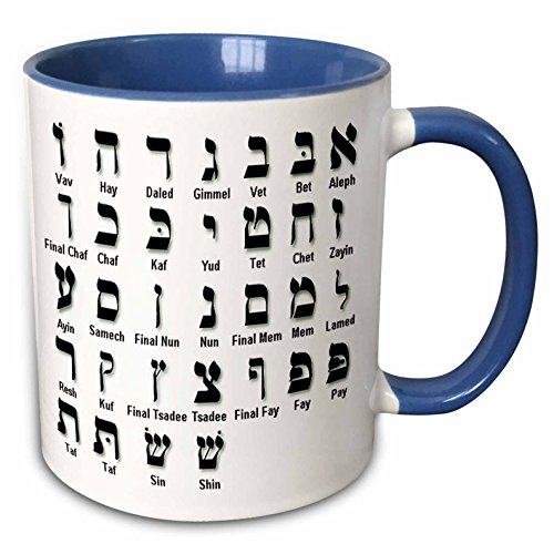 3dRose mug_203899_6 Print of The Hebrew Alphabet - Two Tone Blue Mug, 11oz
