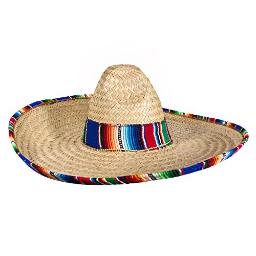 Authentic Sombrero Straw Hat with Serape Trim - Cinco De Mayo Fiesta Party - Made in Mexico]()