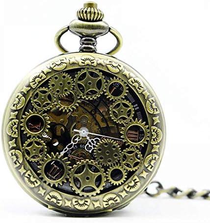 懐中時計、ブロンズアンティーク合金ケースフラワーユニセックスメカニカル手巻き時計クリスマスギフト