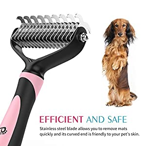 Pawaboo Pet Dematting Comb - Pet Grooming Comb with Dual Sided 9+17 Rake for Dogs and Cats Of All Sizes, Gently Removes Loose Undercoat, Mats, Tangles and Knots