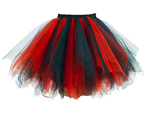 MsJune Women's 1950s Vintage Petticoats Crinolines Bubble Tutu Dance Half Slip Skirt Black & Red-L/XL