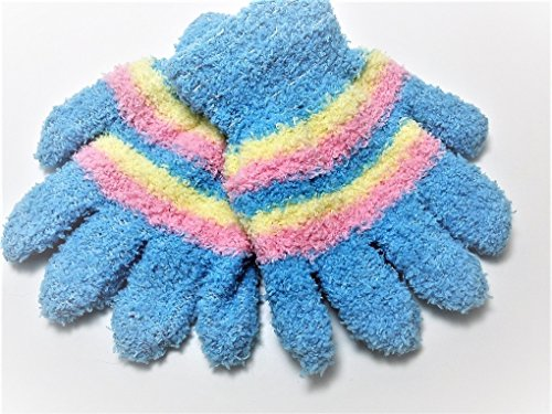 Super Soft and Warm Gloves for Girls Ages 2 to 6 - Various Colors … (Blue) ()
