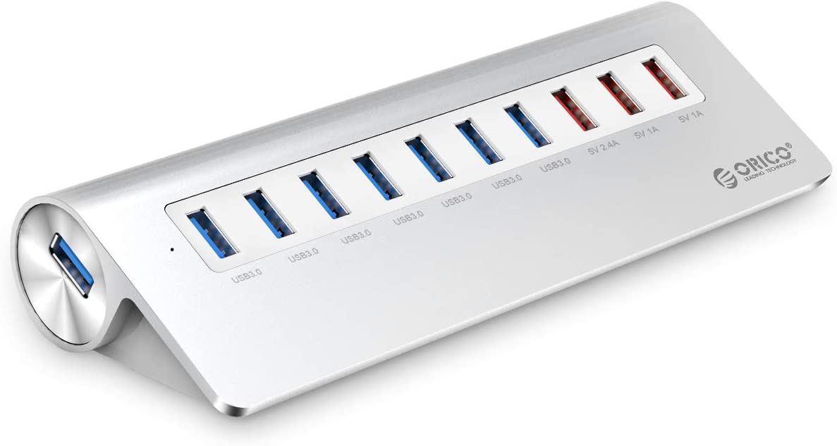 ORICO Powered USB 3.0 Hub, Aluminum 10 Port USB 3.0 Hub, 7 USB 3.0 Ports and 3 Fast Charging Ports with 12V 4A Power Adapter and 3.3 Ft Cable for iMac, MacBook, MacBook Air, Mac Mini and More- Silver