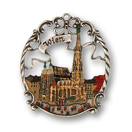 Pewter Christmas Ornament - Town Picture Wien - Pewter Painted Ornament
