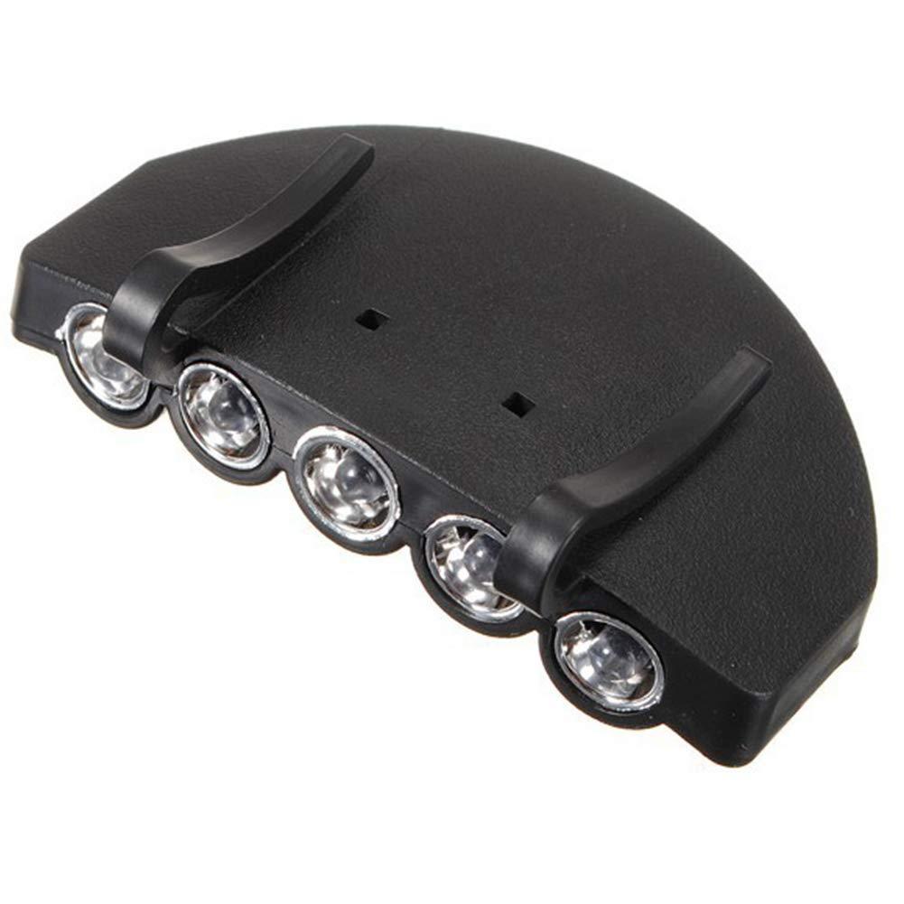 mdxmai La luz del Casquillo de 5 LED de la Mano pr/áctico Sombrero Linterna Libre Clip para el Aire Libre para Correr Deportes bater/ía incluida