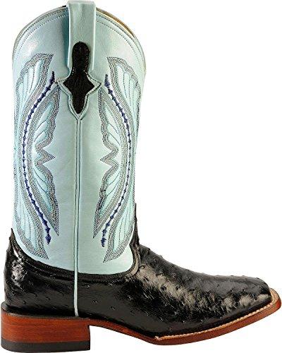 Ferrini Mens Full Quill Ostrich Turq Boots Black wD8NxPWBtZ
