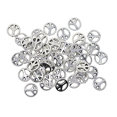 Homyl 50 Pieces Silver Tone Alloy Flat Round Beads Peace Symbol Charms Spacers for DIY Necklace Bracelet Jewelry Making Accessories - 13x2.5mm, 1.2mm Holes