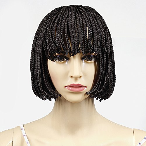 Search : YXCHERISHAIR 10inch Small Box Braided Wigs Short for Black Women African American Short Bob Wigs Brown None Lace Front Synthetic Japanese Fiber Heat Resistant(10 inch, #Brown)