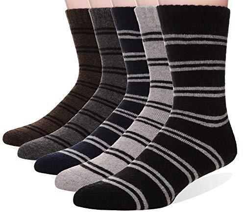 (Velice Men's Super Thick Warm Wool Winter Socks 5-Pack(Stripe))