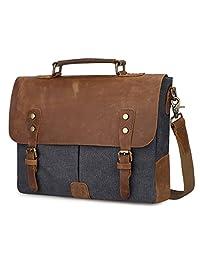 S-ZONE Fashion Canvas Genuine Leather Trim Travel Briefcase Laptop Bag (Dark Grey)