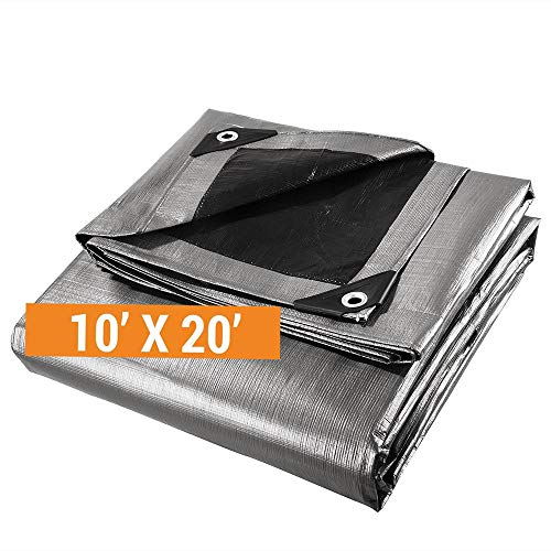 Heavy Duty Poly Tarp - 10' x 20' - 10 Mil Thick Waterproof, UV Blocking Protective Cover - Reversible Silver and Black - Laminated Coating - Rustproof Grommets - by Xpose Safety