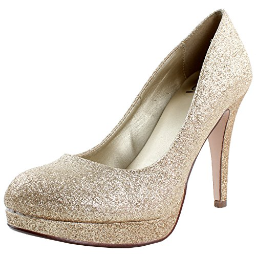 Delicious Women Eiffel Glossy Closed Toe Dress Platform Pump Professional Women Stiletto HeelGold Glitter8.5