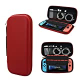 super nintendo console shell - Kandouren PU Leather Case for Nintendo Switch 2017 Game Consle- BLACK Protective Hard Travel Carry Case Shell Pouch for Nintendo Switch Console & Accessories (Red Carring Bag)