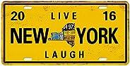LOVIVER 15 x 30 cm placa de metal fundido retangular placa de decoração de parede pôster pub bar - Nova York,
