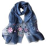 Womens printing Embroidery Long Scarf Lightweight Wrap Shawl Scarf cotton Hemp Silk Scarf (5#)
