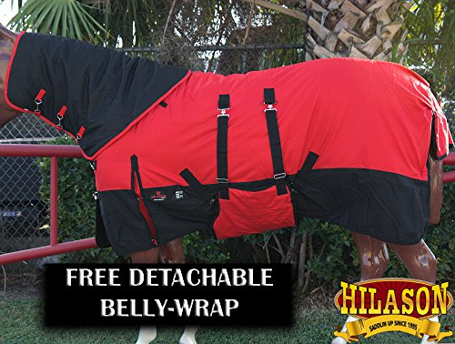74'' HILASON 1200D WATERPROOF WINTER HORSE BLANKET NECK COVER BELLY WRAP RED BLK by HILASON