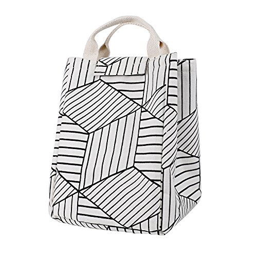 HOMESPON Reusable Lunch Bags Printed Canvas Fabric Insulated Waterproof Aluminum Foil, Lunch Box Women, Kids, Students (Geometric Pattern-White) by HOMESPON (Image #1)