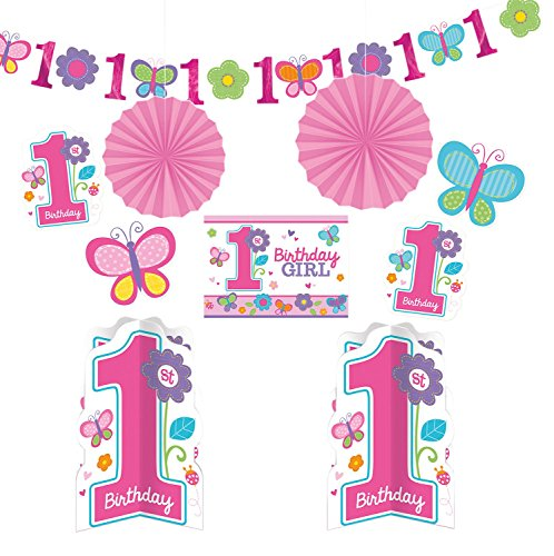 Flowers and Butterflies Girl's 1st Birthday Party Assorted Room Decorating Kit, 10-Piece, Assorted Sizes -