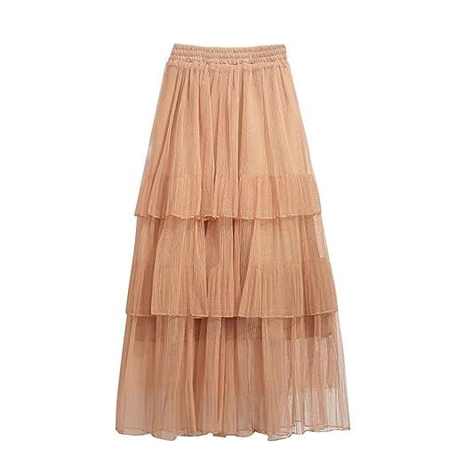 NUOCAI - Falda de Talle Alto de un Solo Color, Media Falda, para ...
