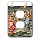 3dRose lsp_170829_6  Women in Victorian Bathing Suits Playing Ball in The Ocean 2 Plug Outlet Cover