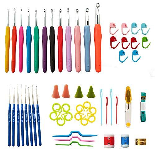 [해외]크로 셰 뜨개질 후크 세트 뜨개질 바늘 키트 12 개 원사 바늘 후크 8 레이스 후크 인체 공학적 그립 핸들 및 스티치 마커 게이지 눈금자가 위 액세서리 공예 선물 세트 / Crochet Hooks Set Knitting?Needles Kit 12 PCS Yarn Needles Hooks 8 Lace ...