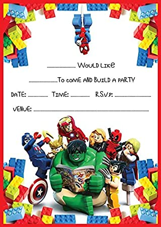 MARVEL LEGO HEROES BIRTHDAY PARTY INVITES INVITATIONS X 10 PACK
