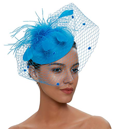 - Zivyes Fascinator Hats for Women Pillbox Hat with Veil Headband and a Forked Clip Tea Party Headwear (1-Lake Blue)