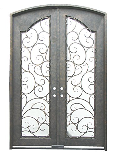 MCM3 Double Wrought Iron Doors108''x72with Tempered Double-pane Glass