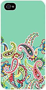 Mint Green and Paisley - Case for the Apple Iphone 5-5s Universal- Hard White Plastic