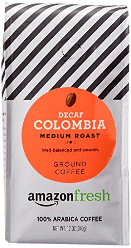 AmazonFresh Decaf Colombia Ground Coffee, Medium Roast, 12 Ounce