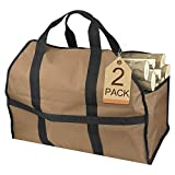 Petutu Firewood Carrier 2 Pack, Large Canvas Log Carriers Tote, Fireplace Wood Holder Accessories(Brown)