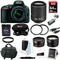 Nikon D5500 SLR Camera (Black) with 4 Lens Kit: 18-55mm, 55-200mm VR, and 52mm Wide & Tele Lenses plus 64GB Accessory Bundle Review Review Image