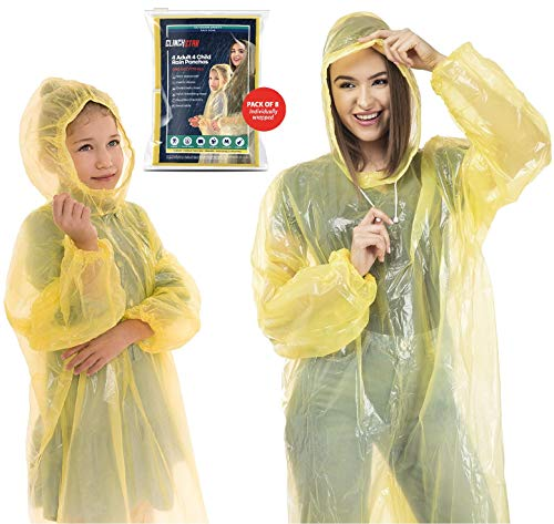 Clinch Star Safe Rain Poncho with Hood and Elastic Sleeves for Adults and Kids 100% Waterproof- 8 Family Pack