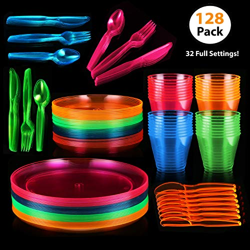 128 Piece Neon Party Supplies Set - Disposable & Heavy Duty, Includes: 32 Main Course 9 inch Plate, 6 inch Dessert Plates , 9-ounce Tumblers, Cutlery, Glow in the Dark Great for Blacklight UV Parties]()
