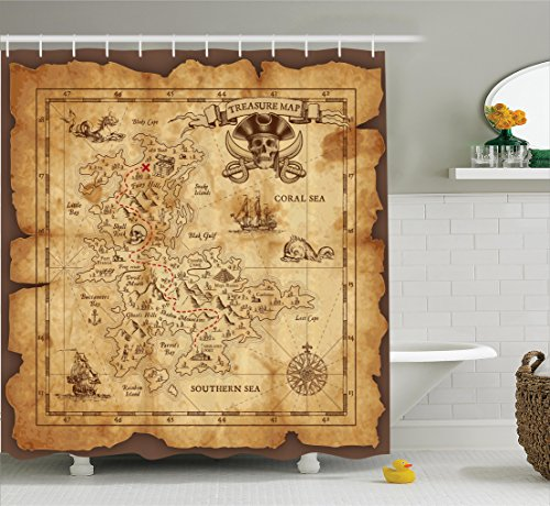 treasure map shower curtain - 1