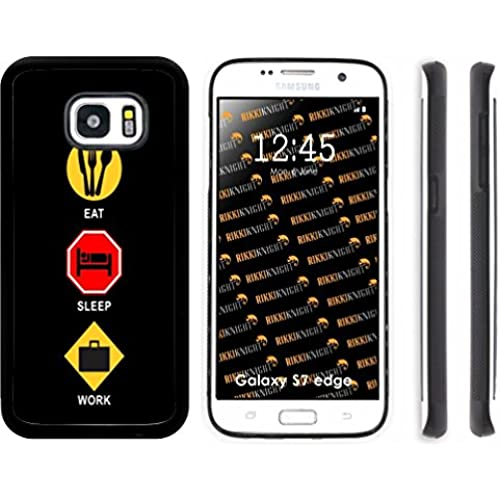 Rikki Knight Eat Sleep Work Design Samsung Galaxy S7 Edge Case Cover (Black Rubber with front Bumper Protection Sales
