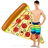 Sol Coastal 6-Foot Supreme Pizza Slice Vinyl Swimming Pool Float, Giant Inflatable Water Raft with Cup Holders & Patch Kit