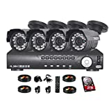TMEZON 4CH 960H DVR Home Security System, P2P QR-Code Connection 800TVL Day Night CCTV Outdoor Cameras Surveillance System 2TB Hard Drive