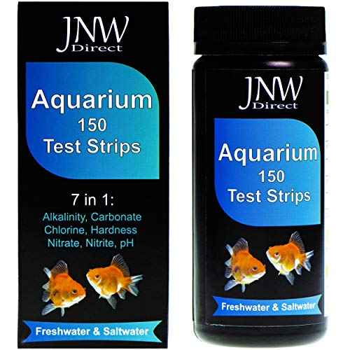 JNW Direct 7 in 1 Aquarium Test Strips, 150 Strip MEGA Pack, Best Kit for Accurate Water Quality Testing for Saltwater & Freshwater Aquariums and Fish Ponds
