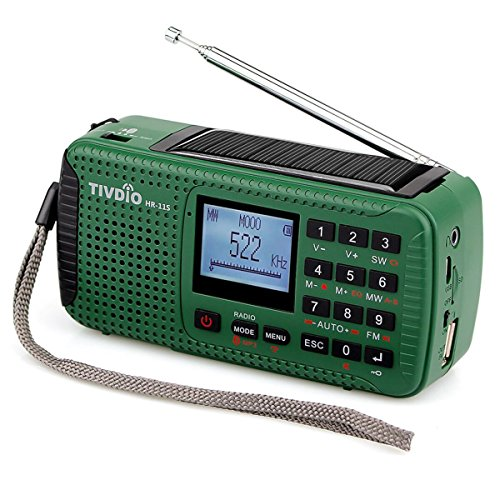 TIVDIO HR-11S Portable AM FM Shortwave Radio Hand Crank Solar Emergency with Wireless MP3 Player Smart Phone Charger Digital Recorder Red Flashlight SOS(Green)