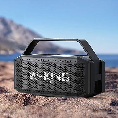 60W(80W Peak) Bluetooth Speaker, W-KING Speakers Bluetooth Wireless with 40H Playtime, 12000mAh Battery Power Bank, TWS, NFC, Mic, IPX6 Waterproof Outdoor Speaker, Loud Rich Bass, Crystal Clear Audio