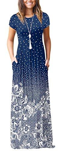 Rosemia Women Floral Print Casual Short Sleeve Maxi Dresses Water Drop Navy Blue M