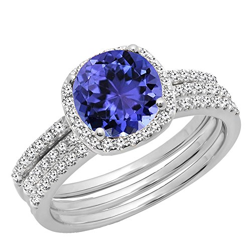 (Dazzlingrock Collection 10K 6 MM Round Tanzanite & Diamond Ladies Halo Ring With Double Band Set, White Gold, Size 8.5 )