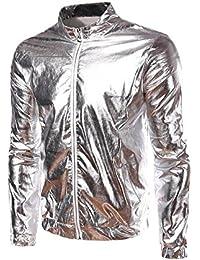 Mens Metallic Gold Front-Zip Jacket